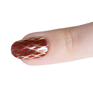 Finger Red and Gold Fishnet Close Up